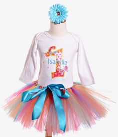 Baby Girl First Birthday Tutu Set - Flowers & Butterfly