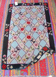 """Hand hooked rug signed by """"ANN RUF""""   & dated 1954-55"""