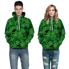 Hot selling 3D print green leaf sweatshirt MR MRS hooded hoodies spandex leisure jogging femme plus size sudaderas mujer 2015