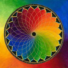 Arco Iris Loto - Mandala-   Impresión de archivo sobre papel de foto.