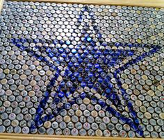 Dallas Cowboys table made from recycled beer bottle caps. Dallas Cowboys table made from recycled beer bottle caps. Beer Bottle Crafts, Beer Cap Crafts, Bottle Cap Projects, Diy Bottle, Beer Bottles, Beer Cap Art, Beer Caps, Dallas Cowboys, Bottle Top Tables