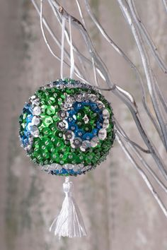 Christmas Ball/Sequin Christmas Ball/ Christmas Gift/Christmas Tree Decoration/ Ornaments/Christmas Ornaments/ Silver Blue and Green Sequins by SequinsAndMore on Etsy https://www.etsy.com/listing/477793940/christmas-ballsequin-christmas-ball