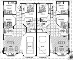 Duplex floor plans lakeside retreat complex pinterest for Dual living house plans