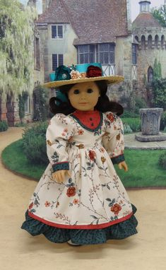 Auckland Carriageway - Victorian dress for American Girl doll with undergarments
