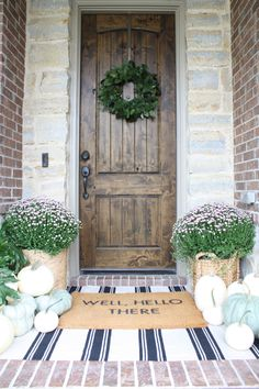 Well, hello there, Fall! It has felt amazing here in Houston the past couple of days. Absolutely feels like Fall is creeping in! Welp, I may have spoken too soon. I just checked the weather for the next 10 days and it's all going to be in the 80's. I guess it's better than the … Front Door Entrance, Front Door Decor, Front Doors, Tuscan Decorating, Porch Decorating, Decorating Ideas, Decor Ideas, Decoration Pictures, Veranda Design