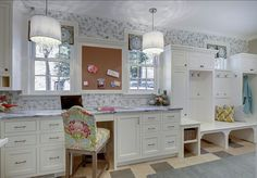 Great combination of home office and mudroom #mudroom