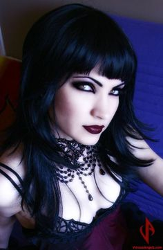 perfect coo-toned black hair and gorgeous makeup