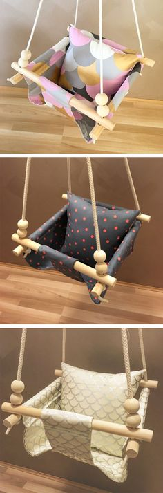 Perfect Pink Swing / Handmade Burlap Baby Swing, Toddler Swing or Kids Swing and Rattle