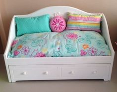 American Girl Doll Dreamy Daybed Trundle Bed With Bedding