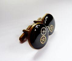 Manžetové knoflíčky - starobronzové steampunk křišťálová pryskyřice lůžko kolečka knoflíčky manžetové cufflinks