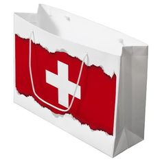 Shop Flag of Switzerland Large Gift Bag created by HappyPlanetShop. Custom Gift Bags, Customized Gifts, Red And White Flag, Switzerland Flag, Large Gift Bags, Art For Kids, Gift Tags, Destination Wedding, Create Yourself