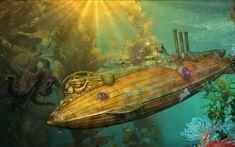 Steampunk Fantasy Art Train Station   steampunk punk sci fi vehicles submarine ocean art fantasy underwater ...