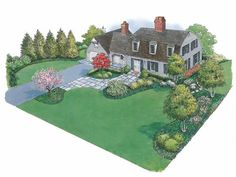 Eplans Landscape Plan: With two entries close to each other at the front of the house, it is imperative that the landscaping for this gambrel-roof Colonial home defines the formal or dominant entry