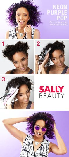 Neon Purple Pop: Get the Look with Our Easy Tutorial. Rocking the vibrant violet look is so easy, you can do it at home. Divide the hair into sections, use foil wraps to lighten, shampoo and then apply color. #sallyhairdare