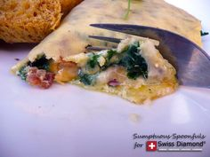 Havarti Cheddar Kale Omelet with Bacon ~ Sumptuous Spoonfuls #omelet #recipe