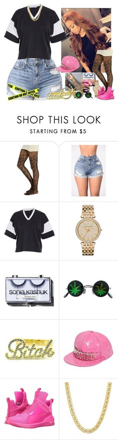 """House Party // PrincessCece"" by melaninmonroee ❤ liked on Polyvore featuring Wet Seal, T By Alexander Wang, MICHAEL Michael Kors, Nicki Minaj, Sonia Kashuk, Moschino and Puma"