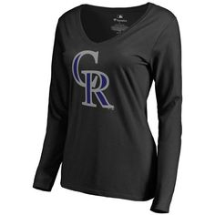 Colorado Rockies Women's Team Color Primary Logo Slim Fit V-Neck Long Sleeve T-Shirt - Black - $39.99