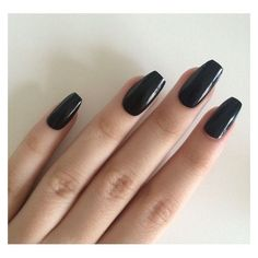 Gloss black coffin nails, hand painted acrylic nails, fake nails, fals ❤ liked on Polyvore featuring beauty products, nail care and nail treatments