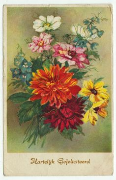 Postcards - Greetings & Congrads #  622 - Happy Birthday with a Bouquet of Flowers