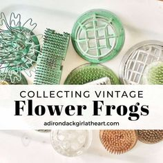 This is a guide to collecting vintage flower frogs. Learn about what they are, how they're used, and the various types. Black Frog, Little Lotus, Frog Design, Flower Frog, Pretty Hands, Heart Crafts, Oriental Design, Copper Color, Carnival Glass