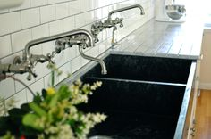 wall mounted faucet-for kitchen...yes!