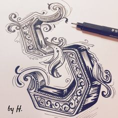 Tattoo Lettering Fonts, Lettering Design, Hand Lettering, Logo Design, Caligraphy, Modern Calligraphy, Fancy Letters, Hand Writing, Number 7