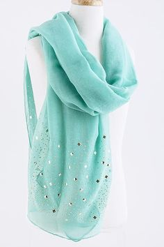 Mint Turquoise Ella Scarf on Emma Stine Limited