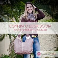 Bora começar a semana com um LOOK do Dia !!! =)  Confira aqui: http://blogcharmedalu.com.br/look-do-dia-bolsa-marrom-e-brinco-com-zirconia/