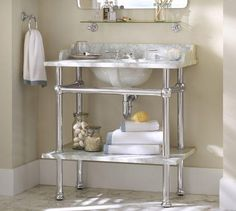 apothecary+sink+console | Bath - Apothecary Single Sink Console | Pottery Barn - marble topped ...