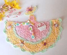 Easter Theme Crinoline Lady Hand Crochet Doily by designedbyl