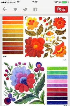 Hungarian Embroidery Stitch Decido Un Color Base El Mexican Embroidery, Hungarian Embroidery, Crewel Embroidery, Ribbon Embroidery, Cross Stitch Embroidery, Machine Embroidery, Embroidery Designs, Embroidery Flowers Pattern, Flower Patterns