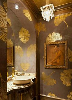 Gold Gingko Powder Bath - This Woodlands, TX powder room is elegantly finished with chocolate pearl fresco on the walls with all over gold foil gingko leaf design, gold foil ceiling and trim as well as gold wax detailing on the vanity. Leaf Stencil, Stencil Diy, Stenciling, Wall Stencil Patterns, Wc Decoration, Interior Decorating, Interior Design, Decorating Ideas, Decor Ideas