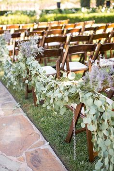 This is an interesting concept for wedding aisle garland.the fresh lavender would provide a fragrant aroma as well! Wedding Aisle Decorations, Altar Decorations, Garland Wedding, Centerpieces, Eucalyptus Garland, Eucalyptus Wedding, Seeded Eucalyptus, Eucalyptus Leaves, Wedding Flower Arrangements