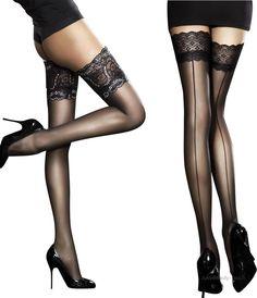 SHEER HOLD UPS LADIES BLACK LACE TOP STOCKINGS FANCY DRESS UNDERWEAR