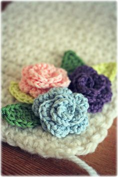 Coco Rose Diaries          This flower cluster would look so sweet on the corner of a baby girl's blanket.