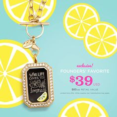 Squeeze the Day + Turn Lemons into Lemonade! There's always a way to turn the sour into sweet! Our Founders' Favorite Living Locket® features an exclusive, hand-drawn and inscribed Plate by Origami Owl®, designed to give you a simple, daily reminder to keep your eyes on all that is sunny! This Gold Heritage Living Locket® with Swarovski® Crystals and exclusive Plate is only available while supplies last, so squeeze the day!
