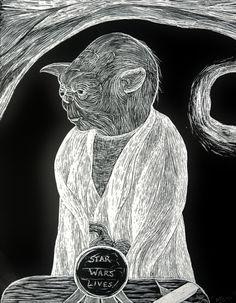 Yoda, Star Wars Lives! ~On scratchboard. ---- Artwork, Drawing, Art, Scratchboard, Black and White, Star Wars, Magical Orb, Writing Says, Star Wars Lives, Yoda, Hut, Dagobah, Star Wars Live, '80s, Movie Characters, Film Creatures, Alien, Sci-Fi, Science Fiction, Star Wars Fan, SW Fandom, Realism, Realistic.