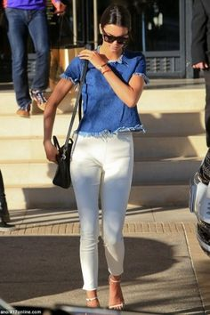 Kendall Jenner wearing Celine Nano Bag, Saint Laurent Jane Patent Leather Sandals and Marques'Almeida X Topshop Cap Sleeve Denim Tee