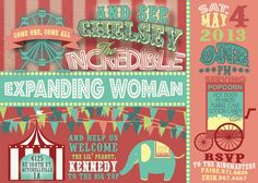 Vintage Carnival Circus Animals Baby Shower Invite Blue Bunny