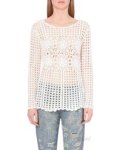 Летняя туника крючком с рукавом от Free People. Мотивы и филейная сетка. Long-Sleeve Filet Crochet Sweater. #free_people #crochet__summer_sweater #crochet_long-sleeve #crochet_filet