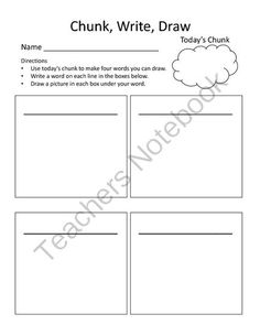 Chunk, Write Draw from Kim's Korner on TeachersNotebook.com - (1 page) - Worksheet for students to write and draw word families.