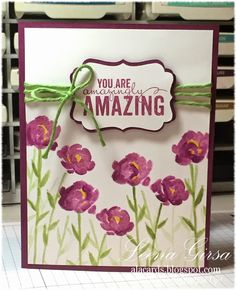 Leena added extra shading with a blender pen to her Painted Petals card. All supplies from Stampin' Up!