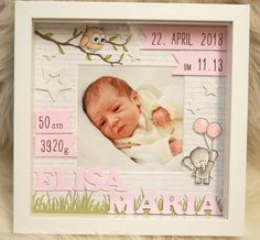 Personalized gift for birth in the frame A baby frame for my Etsy shop Baby Room Colors, Baby Room Decor, Baby Frame, Birth Gift, Baby Scrapbook, Baby Crafts, Box Frames, Diy Cards, Baby Pictures