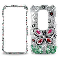 3D Hard Case Silver Butterfly Full Diamond Skin Cover for  HTC Evo #Reiko