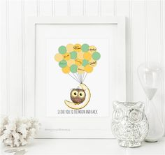 Baby Shower Guest Book Owl Sit on Moon, Printable 1st Birthday guest sign in alternative, Custom Balloon Signature Boy Girl Shower Guestbook