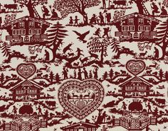 Ethnic Chic - Home Couture Online Shop - Pierre Frey -online shop- Alpage upholstery,Mountain,Fantasy,Cotton - worldwide shipping Rustic Fabric, Fabric Decor, Fabric Design, Chalet Chic, Chalet Style, Animals With Horns, Kids Couch, Pierre Frey Fabric, Chalet Interior