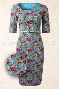 Lindy Bop - 50s Doris Sky Blue Pencil Dress