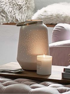 Create a little magic with this beautiful white porcelain hurricane lamp, featuring tiny dotted patterns that cast a star-like glow around your home. Indoor Candle Lanterns, Hurricane Lanterns, Scented Candles, Pillar Candles, Metal Candle Holders, Inspired Homes, Inspirational Gifts, White Porcelain, Condo Decorating