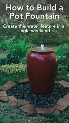 Nothing is more relaxing than the sound of moving water in the garden. Here's how to build a one-of-a-kind pot fountain water feature in a weekend. Outdoor Water Features, Water Features In The Garden, Garden Features, Garden Ideas Budget Backyard, Easy Garden, Backyard Landscaping, Backyard Waterfalls, Backyard Ponds, Garden Planning