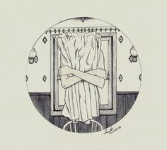 """Untitled"" by Linniker F. de Oliveira #embrace #hug #linniker #drawing #art #illustration #ink #window #ghost #depression #sadness"